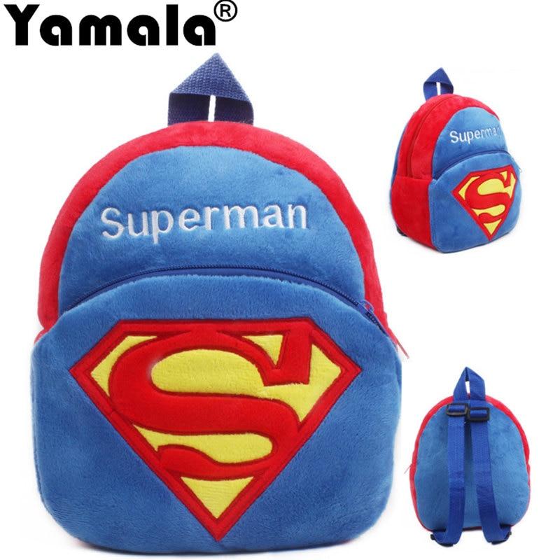 [Yamala] Cartoon Kids Plush Backpacks Spiderman Superman Schoolbag Plush Backpack Children School Bags Girls Boys Backpack