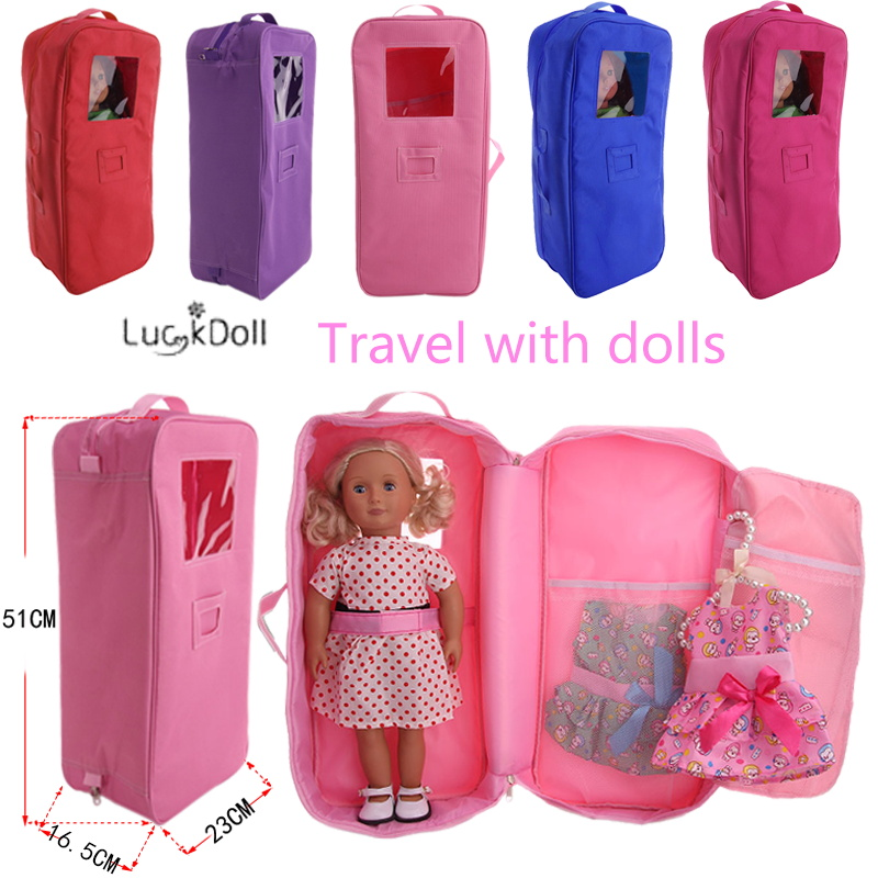Free Shipping By Epacket!5 Colors Travel Bag Fit 18 Inch American&43 CM Baby Doll Clothes Accessories,Girl's Toys,Generation