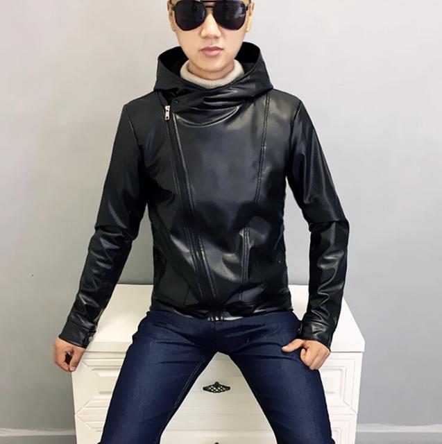 c647a1d0e Spring autumn motorcycle leather jacket mens slim coat hooded diagonal  zipper jackets jaqueta de couro street fashion black 1