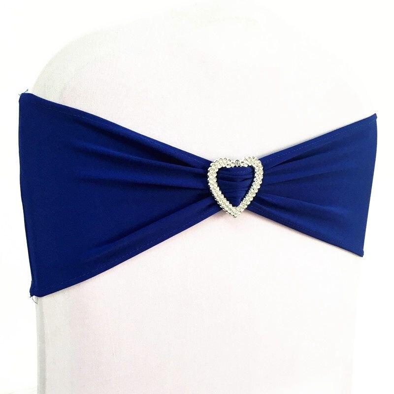 100pcs Royal Blue Lycra Stretch Wedding Chair Bow Sash Elastic Spandex Chair Band With Heart Buckle
