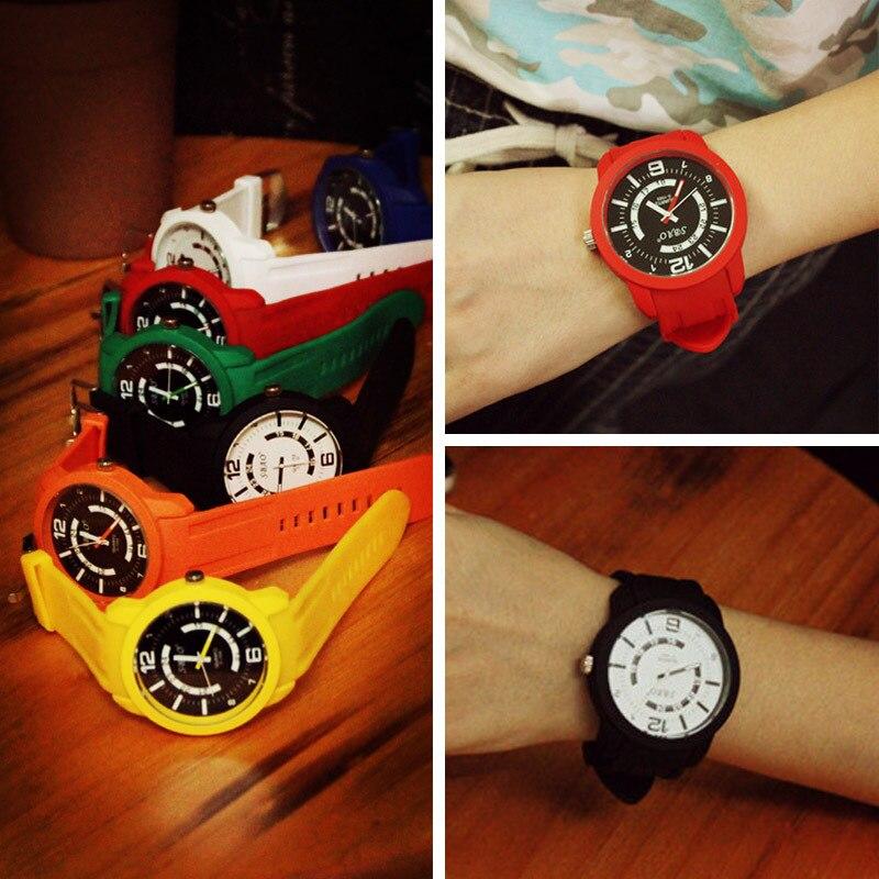 100% New Fashion SBAO Brand Jelly Cream Silicone Quartz Wrist Watch Clock Gift for Men Women Girls Jelly Sudents High Quality