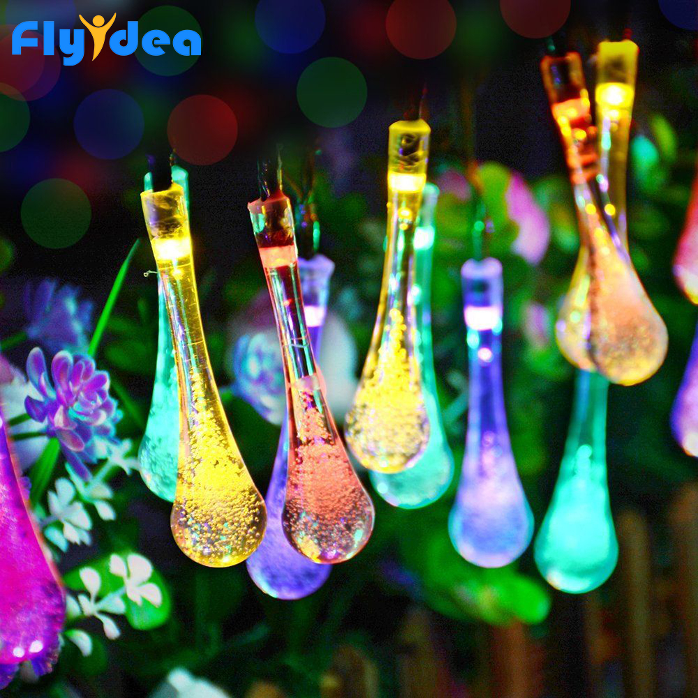 LED Solar Christmas Lights Outdoor 4.5V Water Dorp Ball String Warm New Year's Garland Holiday Wedding Party Decorative Lights