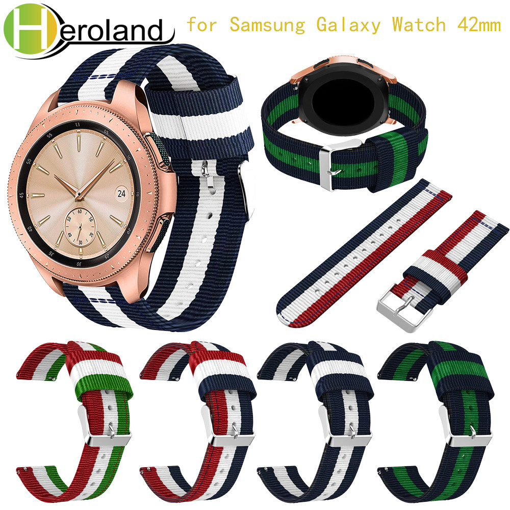 20MM Replacement Watch Band Strap For Samsung Galaxy Watch 42MM Band 2018 New Fashion Fabric Nylon Wristband For Samsung Gear S2