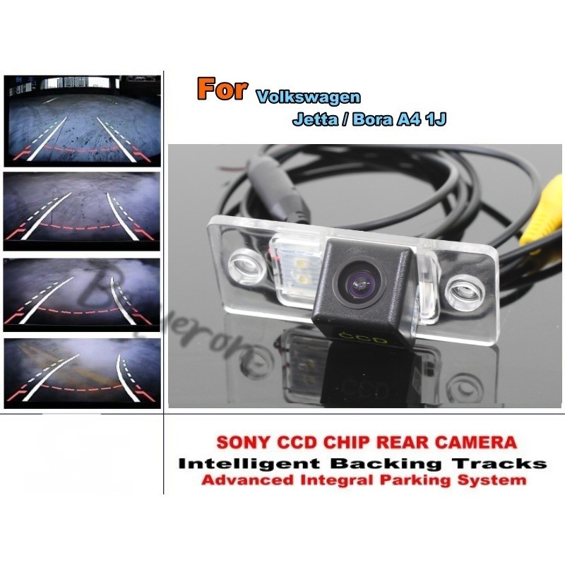 For Volkswagen Jetta Bora A4 1J Car Intelligent Parking Tracks Camera HD CCD Dynamic Tragectory Reverse Camera Rear View Camera for toyota 4runner fortuner sw4 2005 2012 ccd car backup parking camera intelligent tracks dynamic guidance rear view camera