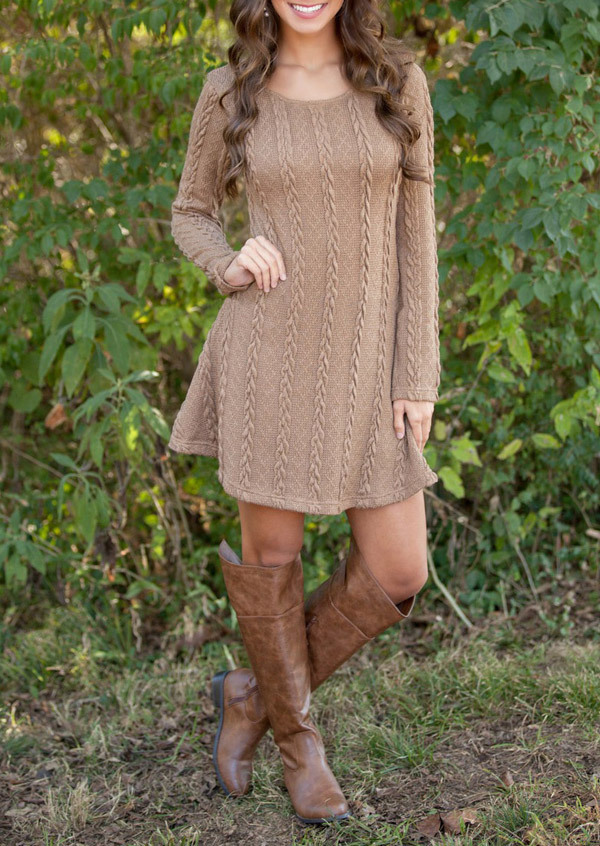 New 2019 Women Dresses Long Sleeve Mini A-Line Knitted Sweaters Dresses Autumn Winter Casual O-Neck Sweaters Dress