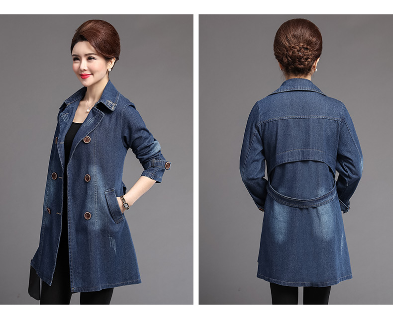 British Style Women Double-breasted Denim Trench Coat Woman Casual Jeans Duster Coats Plus Size Overcoats Lady Leisure Trenches Outerwear (5)