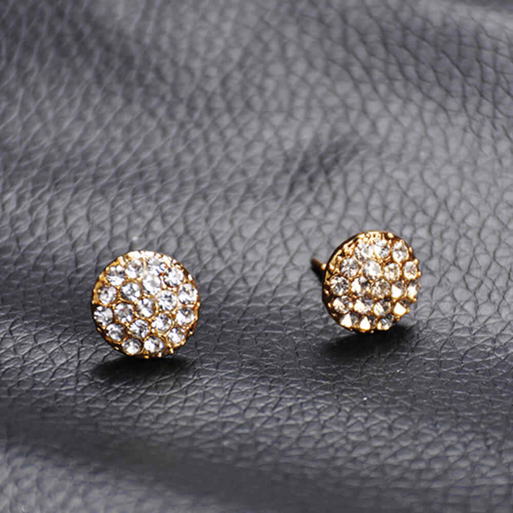 2019 Trendy Emas Bulat Wanita Anting-Anting Elegan Mendorong Kembali Bulat Berlian Imitasi Brincos