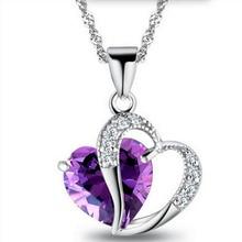 Heart - Shaped Zircon Crystal Necklace Trendy Fashion Pendant Amethyst Gemstone Women Jewelry Bizuteria