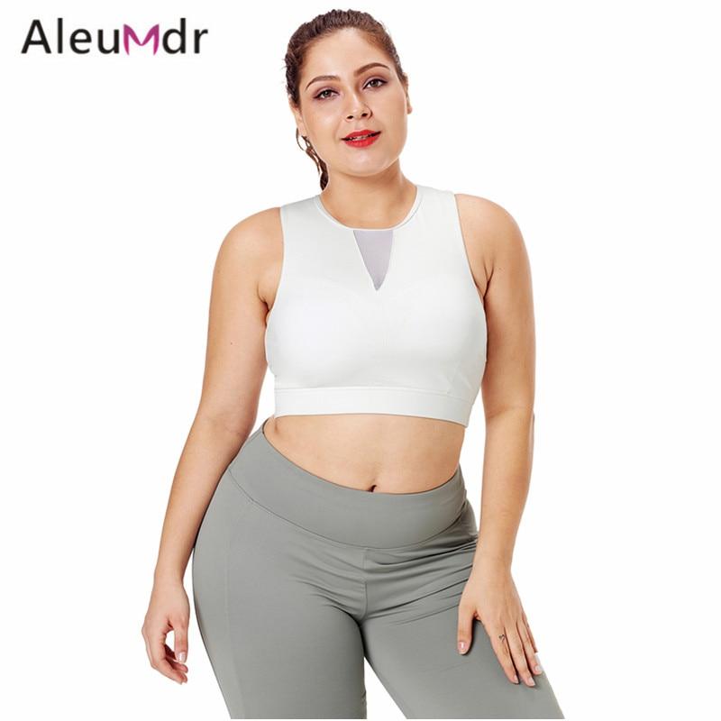 Aleumdr Workout Tank Top Women Fitness Black Mesh Insert High Neck Plus Size Sport Bra Running LC26039 Sujetador Deportivo trendy women s scoop neck asymmetric tank top