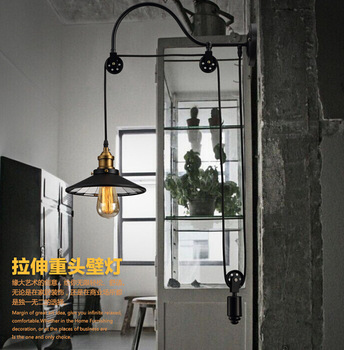 Loft retro Amerikaanse ijzer katrol wandlamp antieke lifting eetkamer slaapkamer Wandlampen Lamparas Thuis Verlichtingsarmatuur