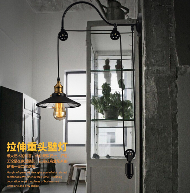 loft retro American iron pulley wall lamp antique lifting dining room bedroom Wall Lights Lamparas Home Lighting Fixture