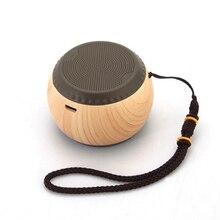 New design Drum Wood grain mini Bluetooth/Wireless Speaker outdoor 3D Stereo Music Surround portable speaker with lanyard