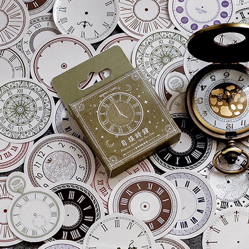 46 Pcs/box Vintage Clock Mini Paper Sticker Decoration DIY Diary Scrapbooking Seal Sticker Kawaii Stationery