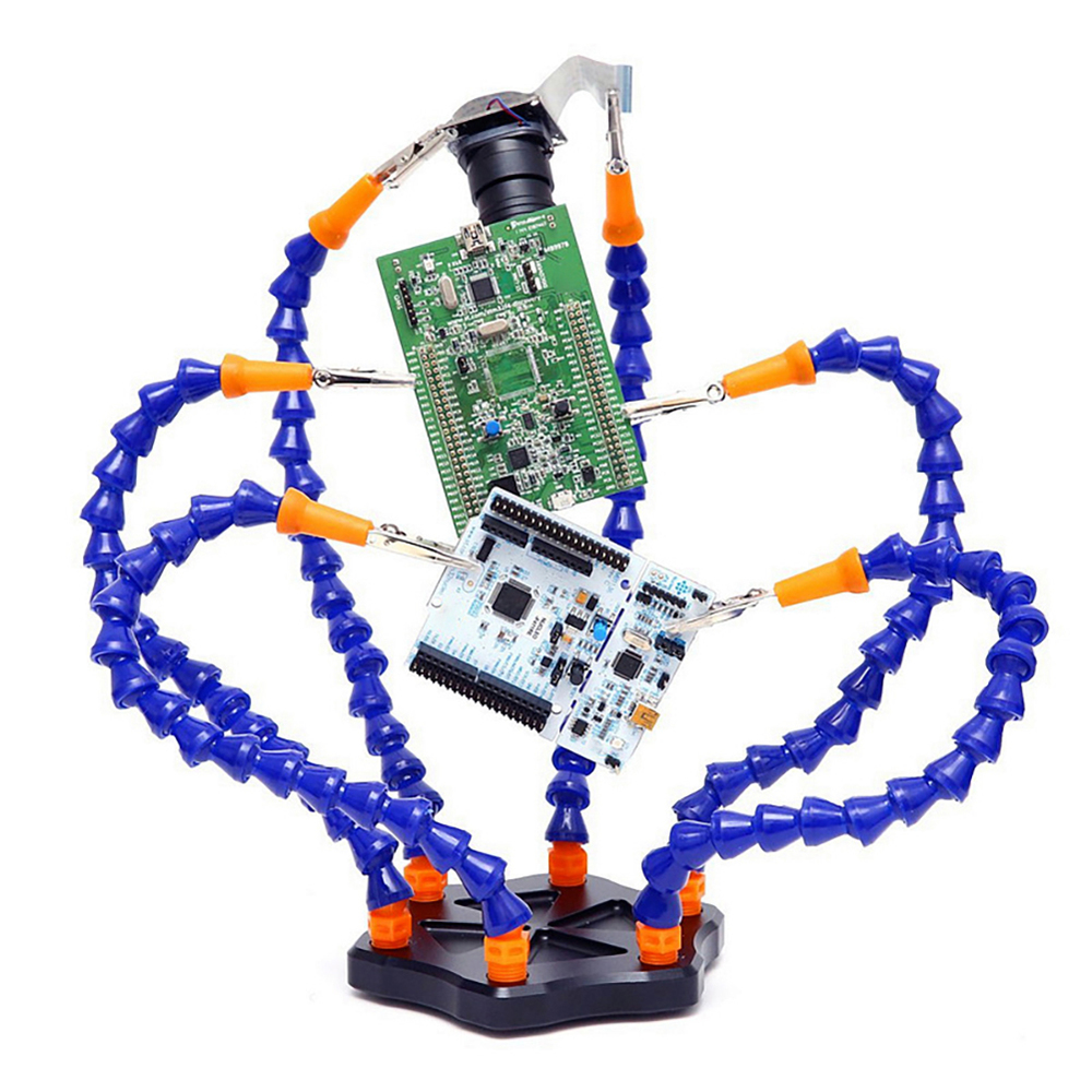 Third Hand Soldering Pcb Holder Tool Six Arms Helping Hands Crafts Workshop Helping Welding Station Usb Led Magnifier