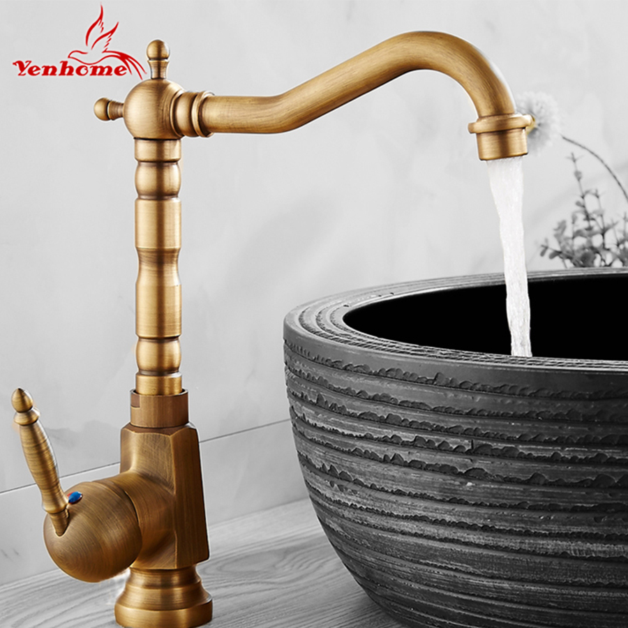 Single Handle Bathroom Faucet Basin Carving Tap Swivel Sink Water Tap Antique Brass Hot and Cold Kitchen Mixer Faucet With Hose golden brass kitchen faucet dual handles vessel sink mixer tap swivel spout w pure water tap