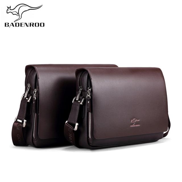 ab007267ec801 Badenroo Yeni Varış Markaları Deri Erkek çantası Iş postacı Evrak Çantası  Rahat Crossbody Küçük omuz çantaları Erkekler Için