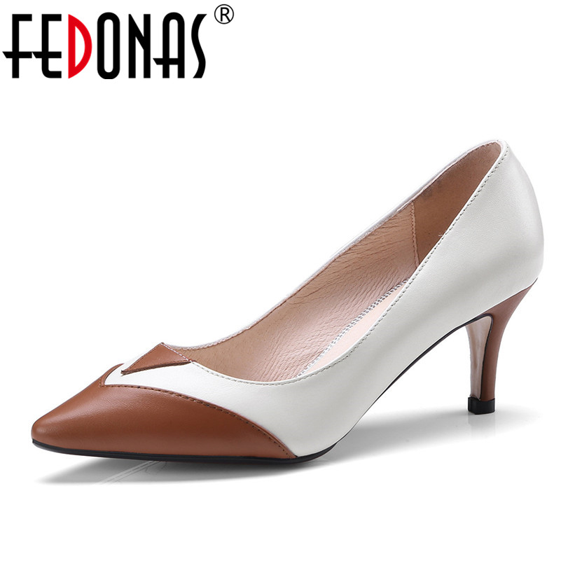 FEDONAS 2018 Fashion High Heels Newest Women Pumps Spring Summer Women Genuine Leather Shoes Woman Pointed Toe Shoes Large Size