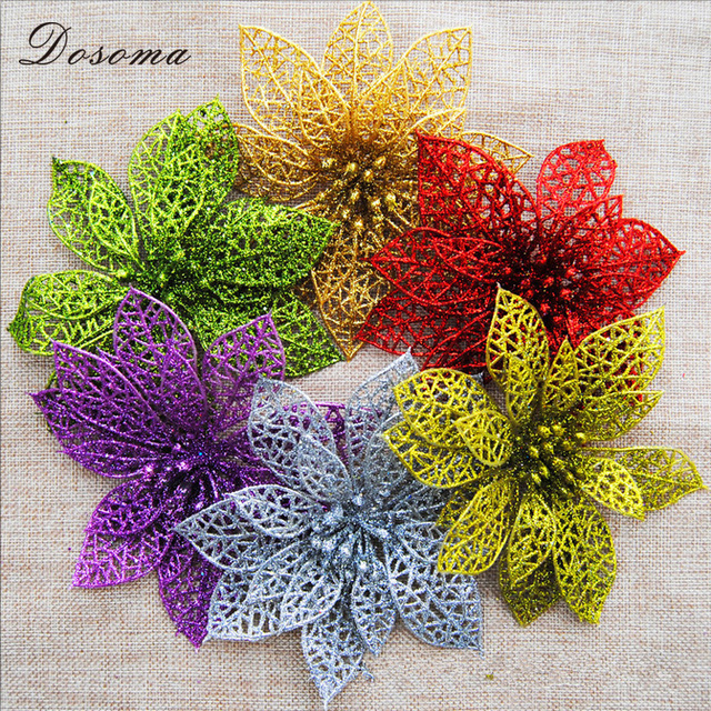 1pcs 2017 christmas decorations for home glitter hollow flower christmas tree decorations new years decor christmas - Flower Christmas Ornaments