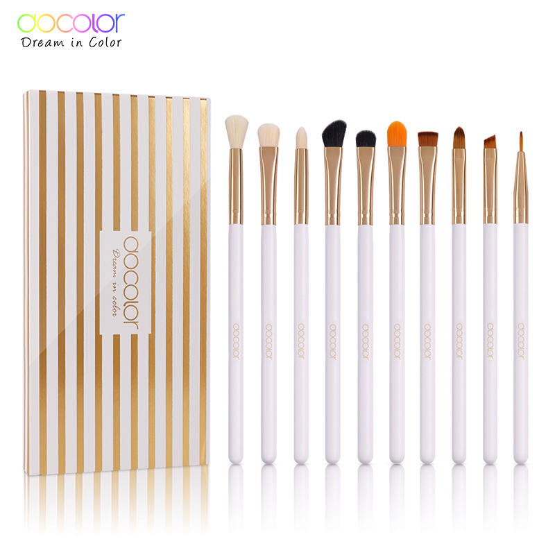 Docolor 10PCS Makeup Brushes Eyeshadow Brush Set Eyebrow Eyeliner Lip Brushes Beauty Essentials Cosmetic Brush Tools msq pro 10pcs cosmetic makeup brushes set bulsh powder foundation eyeshadow eyeliner lip make up brush beauty tools maquiagem
