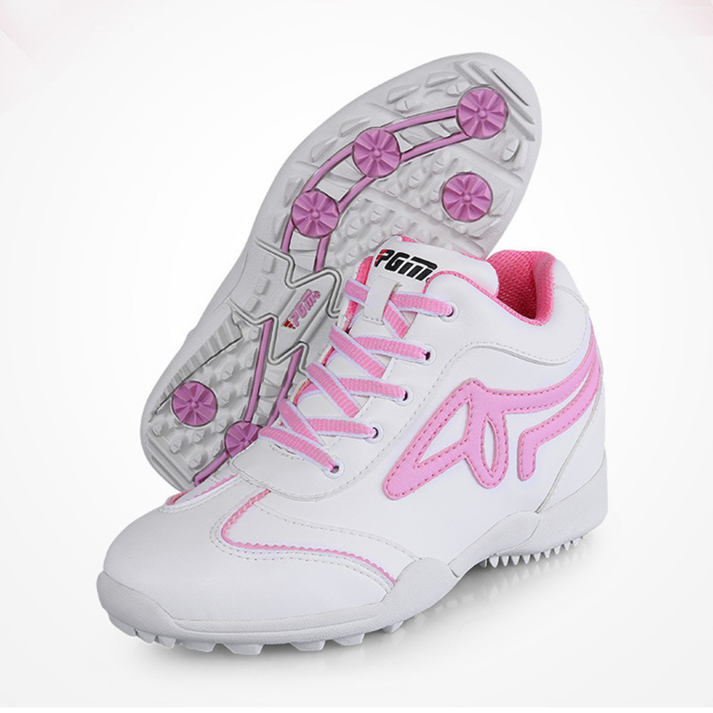PGM Golf Shoes Genuine Leather High Heel Golf Sports Shoes Breathable Ultra Fine White Pink Ladies