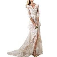 Sexy Lace Designer V Neck Half Sleeves High Low Applique Yaela Wedding Dress Bridal Dresses