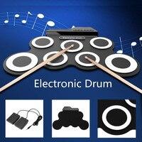 Digitale Beweglich Rollen Up E-drum Kits 7 Pads Mit Pedal/Drumsticks