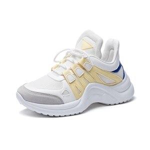 Image 4 - JCHQD 2019 סתיו לגפר נשי אופנה סניקרס תחרה עד רך גבוהה פנאי Footwears רשת לנשימה נשים נעליים יומיומיות