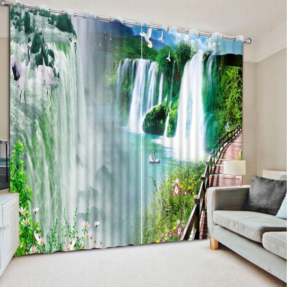 Печатных занавески окна большой водопад пейзаж современные шторы для спальни гостиной шторы на окне,