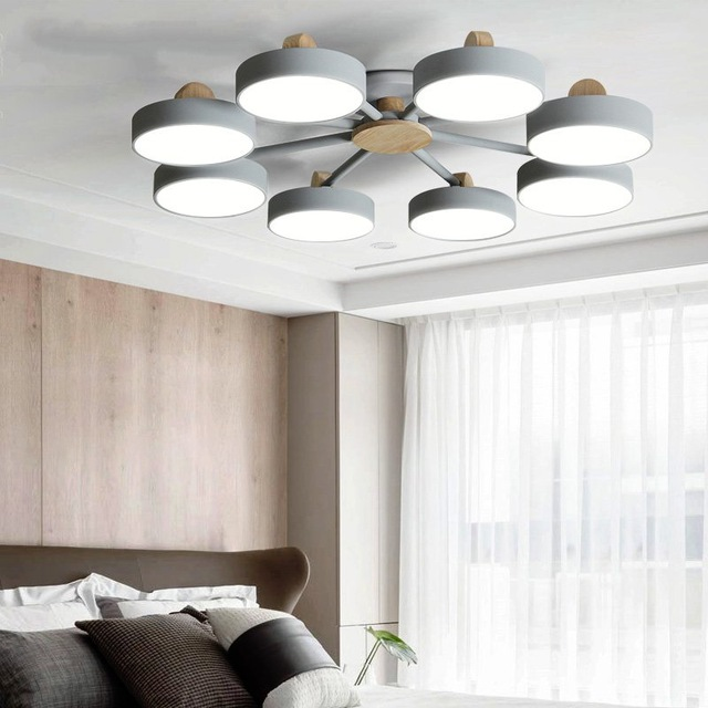 Nordic Modern Iron Ceiling Lights Simple Style Living Room Ceiling Lamps Wooden bracket Decor LED Light Fixtures for Indoor Home|Pendant Lights| |  -