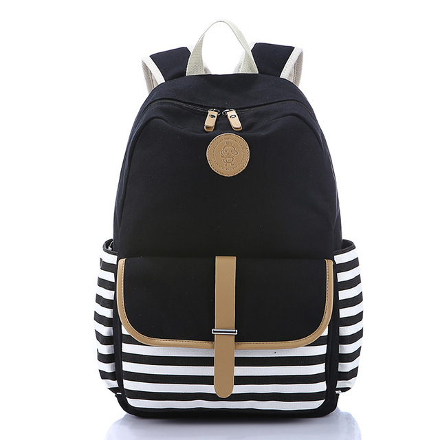 New Arrivals Stripes Canvas Backpack Schoolbags Stylish Students School Backpack For Girls Travel Bags