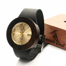 BOBO BIRD C02 Womens Retro Wooden Gold Watches with Black Real Leather Straps Calendar Ladies Wristwatch