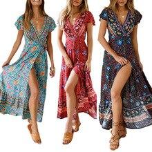 Women's new chiffon dress Summer sexy V-neck cardigan waist print Bohemian beach temperament long skirt cool big swing skirt flamingo print v back drop waist dress