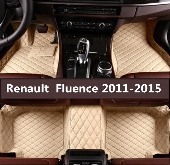 Accessoires de voiture style personnalisé tapis de pied 3D luxe en cuir voiture tapis de sol pour Renault Fluence 2011 2012 2013 2014 2015