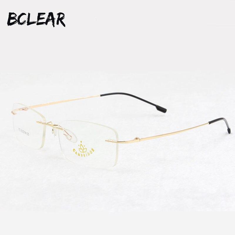 BCLEAR Memory titanium rimless optical frame flexible prescription spectacle eyewear for men women most popular eyeglasses 772