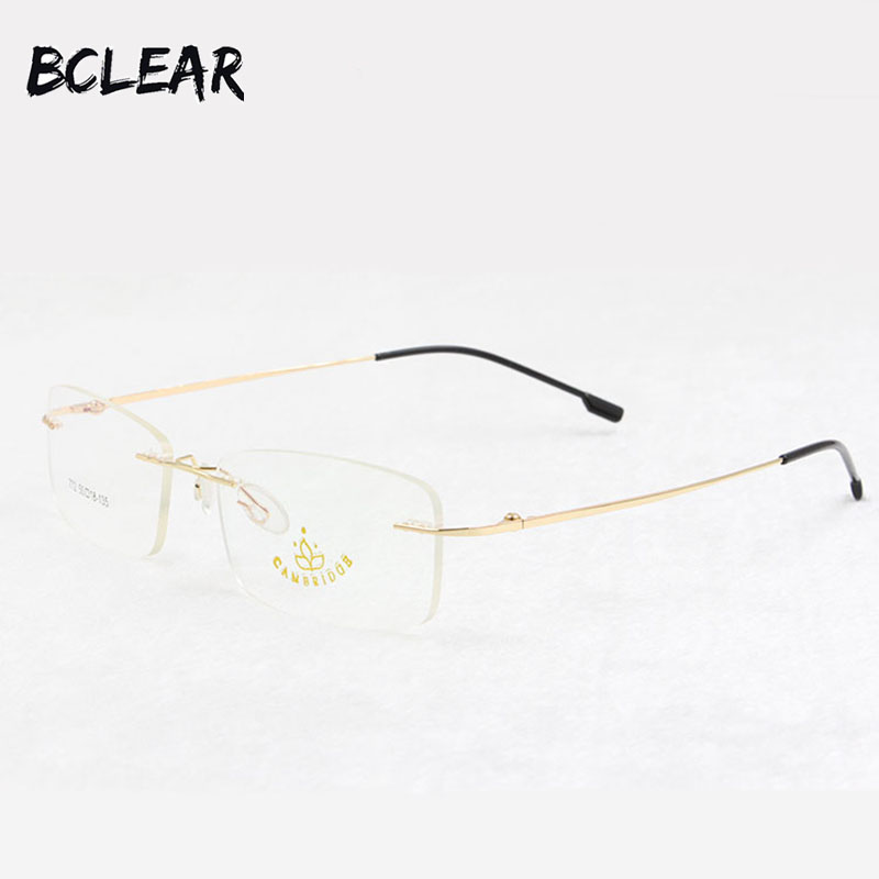 b6556522222 BCLEAR Titanium Memory Flexible Rimless Frame Eyeglasses Optical  Prescription Glasses for Women and Men Frame Shape Customized