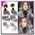 Peruvian body wave grey hair extensions 4pcs/lot grey ombre human hair weave free shipping silver ombre hair weft king hair sale