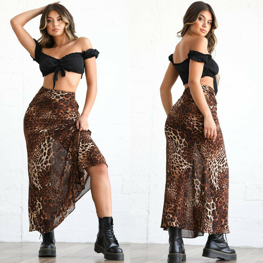 Summer Leopard Print Skirts 2019 New Womens Casual High Waist Long Loose