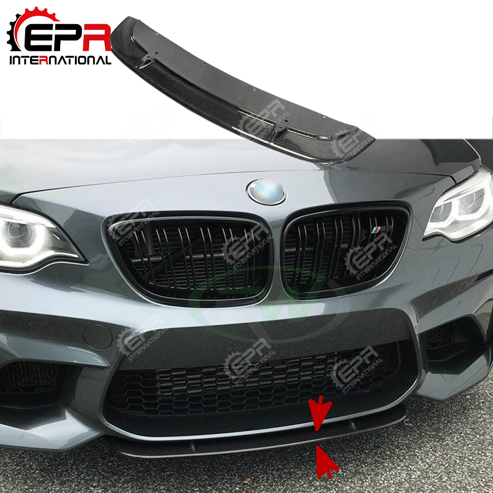 Pour BMW F87 M2 Tuning Avant En Fiber De Carbone Splitter (Pour Réel M2) ST Style Frot Pare-chocs Lèvre Racing Spoiler Garniture Pare-chocs Splitter
