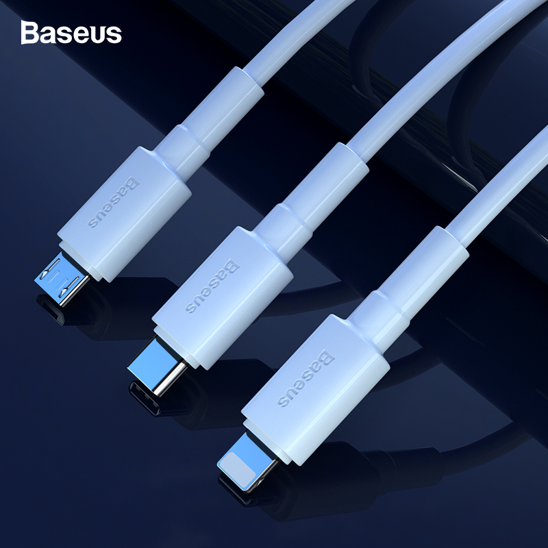 Baseus USB Cable For iPhone XS Max XR X Fast Charging Charger USB C Cord Micro USB Type C Cable For Android Mobile Phone Cables-in Mobile Phone Cables from Cellphones & Telecommunications on AliExpress