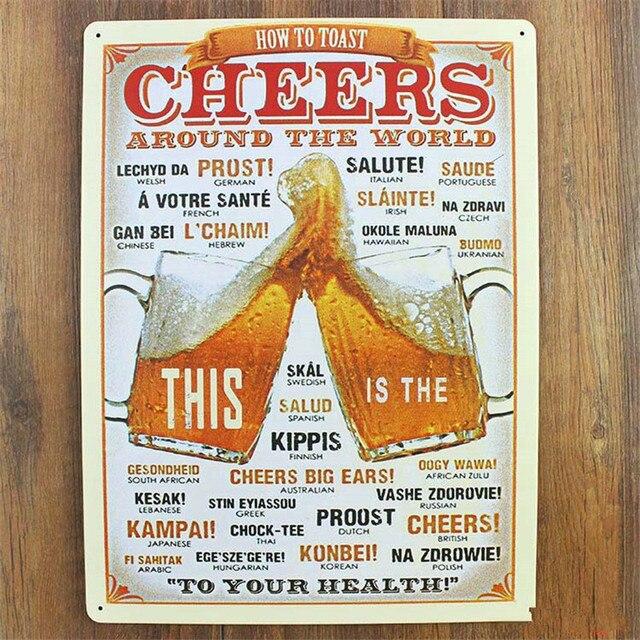 How To Toast Vintage Metal Sign 20*30 Vintage Home Decor Bar Cafe Home  Shabby
