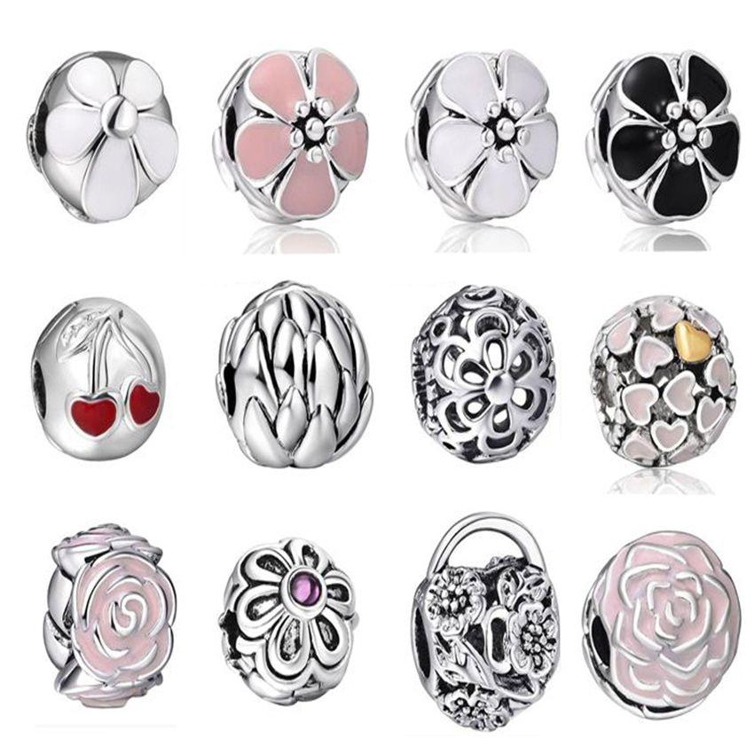 High Quality Silver Charms Enamel Flower European Charm Fit Snake Chain font b Bracelet b font
