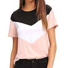 09f58683664 (Ship from US) Women t shirt 2019 New Arrival Casual Color Block Short  Sleeve Casual Tee Shirts Tee Shirt Fashion Ladies Tunic Tops Plus Size