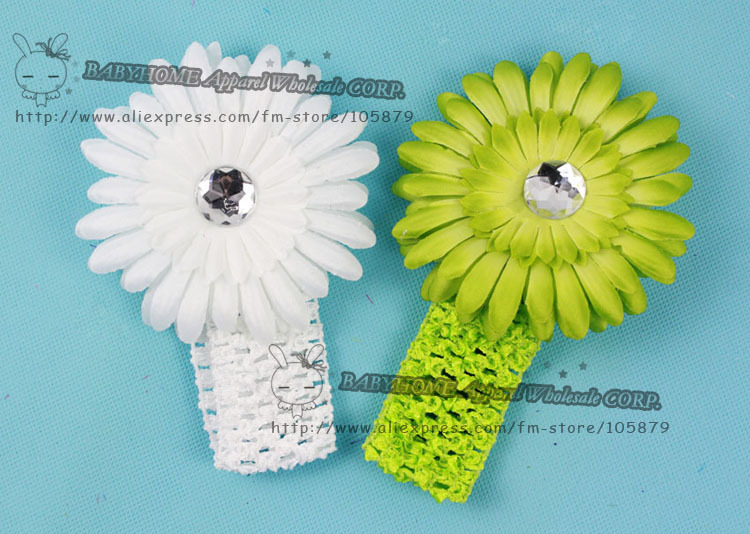 NEW Crochet headband + Gerbera Daisy flower + clip, aligator grip children headbands kid's accessories free shipping.