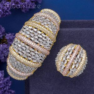 Image 3 - MoonTree Fashion Luxury Super 3 Tone Boom Flowers AAA Cubic Zirconia Women Party Engagement Width Bracelet Bangle And Ring Set