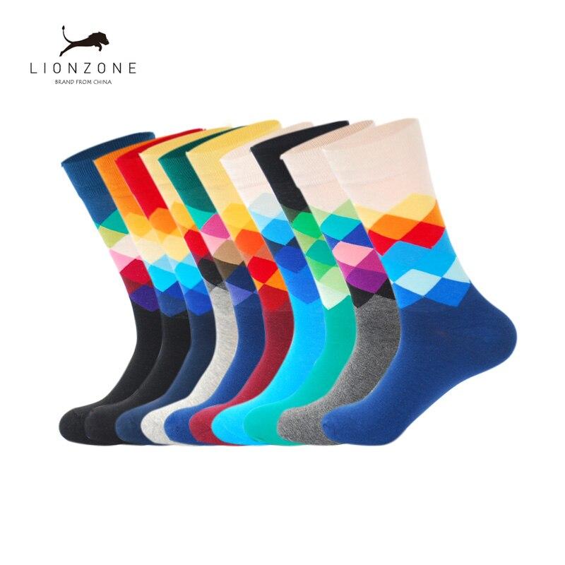 Men Happys Socks With Diamond Pattern Funny Colorful Skateboard Fashion Combed Cotton Men Socks 10Pairs/Lot