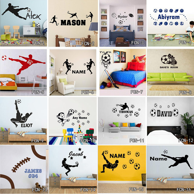 Customized Soccer Pattern Football Player Wall Sticker For Kids Room DIY Vinyl Removable Goal Net Decal Rugby Decor Mural Poster