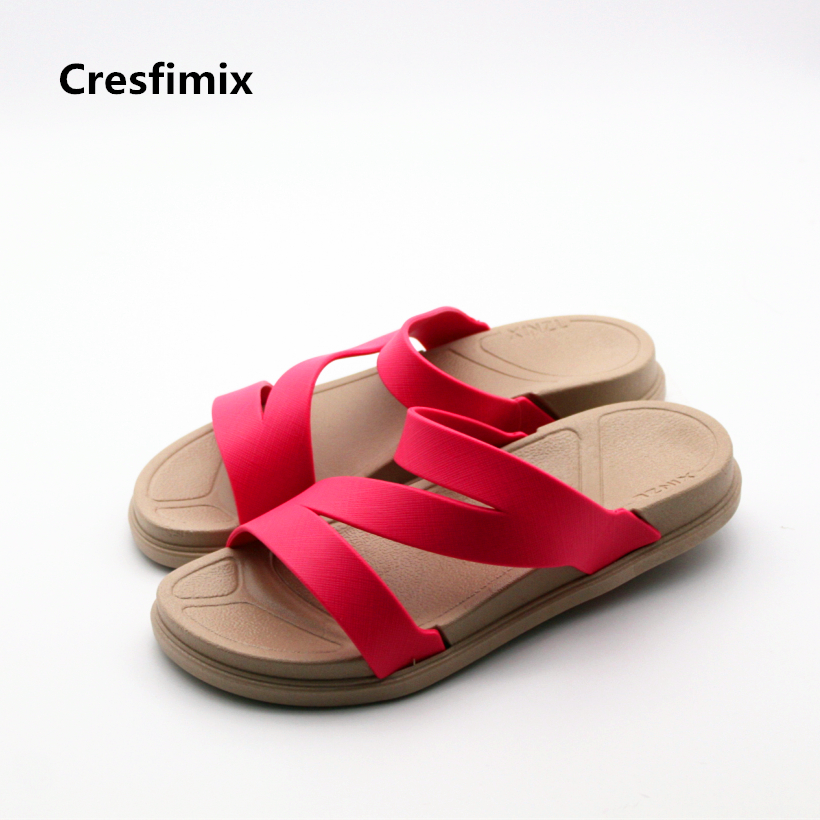 Cresfimix women cute spring & summer slip on slippers female soft & comfortable sandals lady casual outside beach sandals A409 summer leisure slippers slip on round toe comfortable sandals women flat sandals casual flip flops female shoes