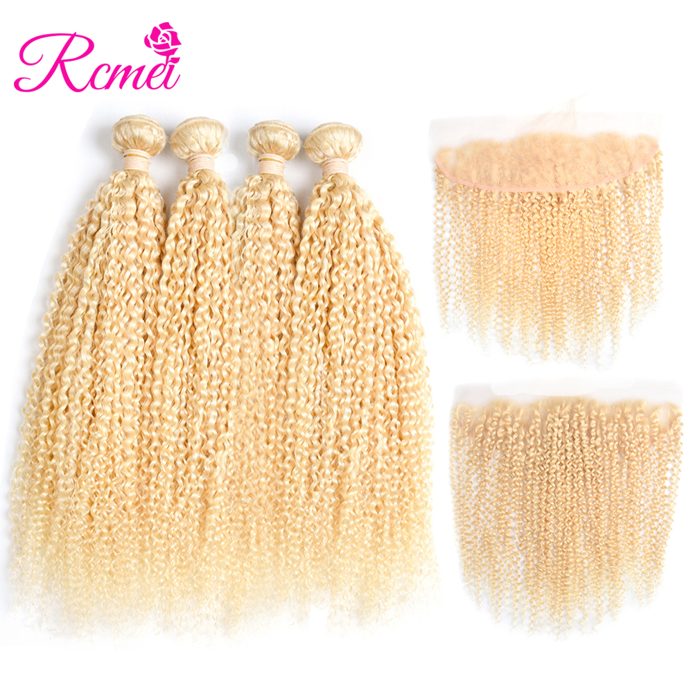 Rcmei Pre Color Peruvian Hair Weave 613 Blonde Kinky Curly 4PCS Blonde Bundles With Frontal Remy