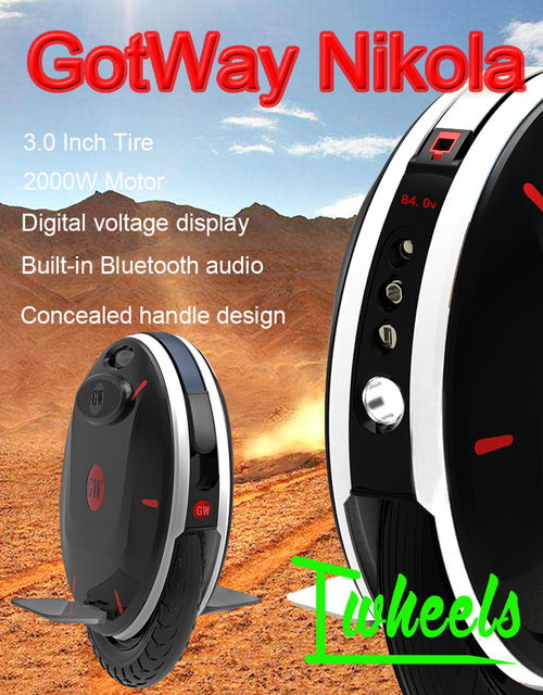 Newest GotWay new unicycle Nikola 17 inch electric unicycle 84V 2000W Bluetooth smart APP Preordain Expected to be listed in May