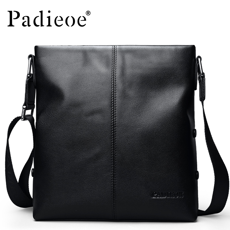 Padieoe 2018 Fashion Genuine Cowhide Leather Bag Luxury Business Messenger Bags For Men High Quality Men's Leather Shoulder Bags
